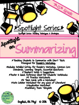 Summarizing: Reader's Workshop, Task Cards, Poster, Poem