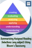 How to Summarize Assigned Reading Selections Using Bloom's Taxonom
