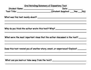 Summarizing / Retelling Rubric for Literature and Expository Texts