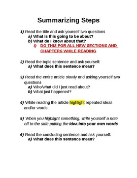Summarizing Steps