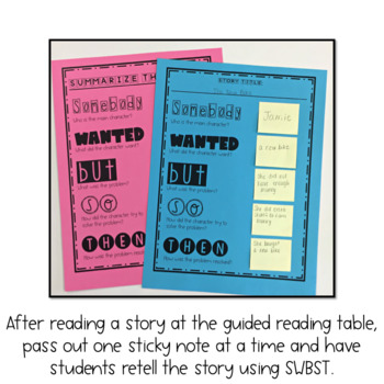 Summarize! Guided Reading Summarizing Sticky Note Activity