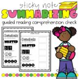 Summarize! Guided Reading Summarizing Sticky Note Activity