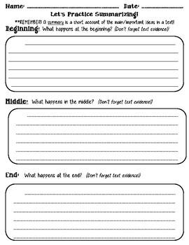 Summarizing Strategy Group Sheet