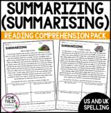 Summarizing (Summarising) - Reading Worksheet Pack with Di