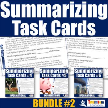 Summarizing Task Card Bundle 2 (Summarizing Informational Texts)