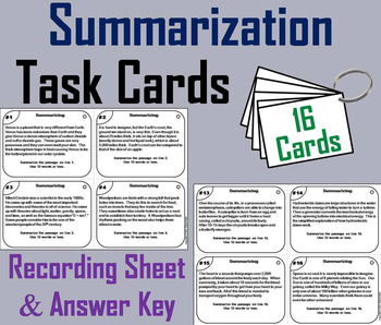Summarizing Task Cards 3rd 4th 5th 6th Grade Informational Text Structures