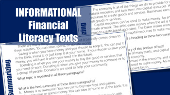 Summarizing Task Cards #5 (Informational Text)