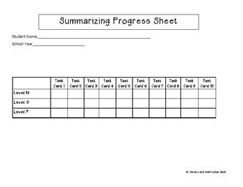 Summarizing Task Cards For Each Guided Reading Level (Levels N, O, P)