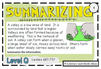 Summarizing Task Cards For Each Guided Reading Level (Levels Q and R)