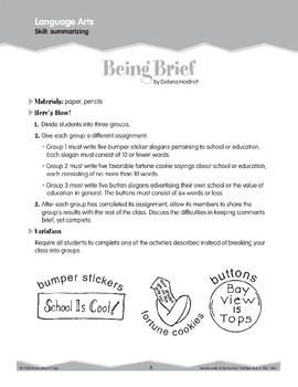 Summarizing (Ten-Minute Activities)