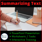 Summarizing Text - Powerpoint and Worksheets editable
