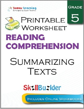 Summarizing Texts Printable Worksheet, Grade 5