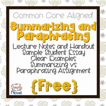 Summarizing Versus Paraphrasing FREE Handout
