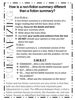 Summarizing.....What is difference between fiction and non-fiction?