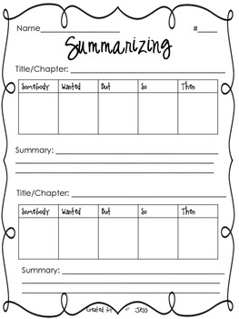 Summarizing Worksheet by Jessica Scott | Teachers Pay Teachers