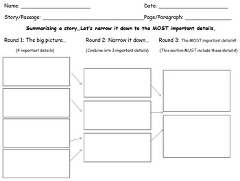 Summarizing a Story Graphic Organizer