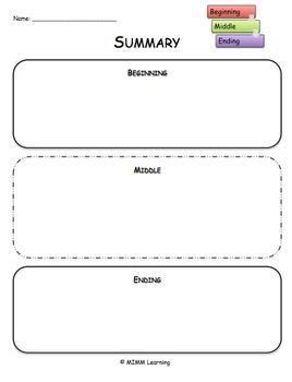 Summarizing a Text Graphic Organizer - Universal