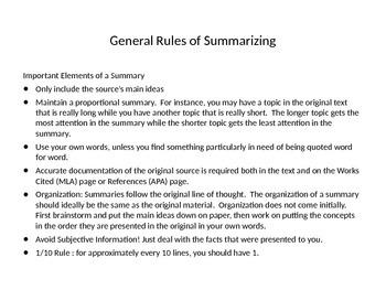 Summarizing and Citing