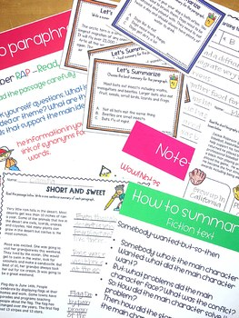 Summarizing and Paraphrasing Activities - Research Skills