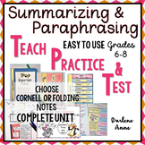 SUMMARIZING AND PARAPHRASING POWERPOINT, NOTES: TEACH, PRACTICE, TEST