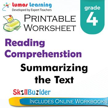 Summarizing the Text Printable Worksheet, Grade 4