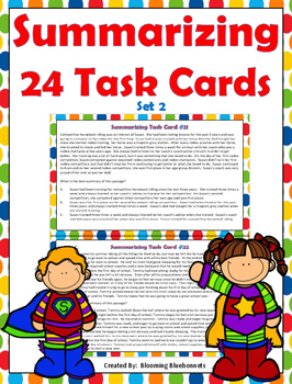 Summary Task Cards - Summarizing Task Cards - Set 2