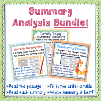 Summary Analysis Bundle-27 Passages to Help Your Students