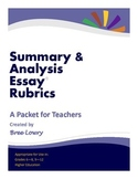 Summary & Analysis Essay Rubric Packet (for Writing in All Subjects)