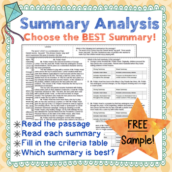 Summary Analysis Sampler--3 FREE Passages with Summary Criteria Tables