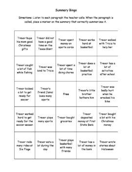 Summary Bingo