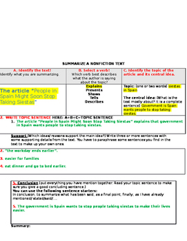 Summary Chart with a Sample and an Article to Summarize