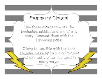Summary Clouds! Thunder Cake Activity/Pre-write