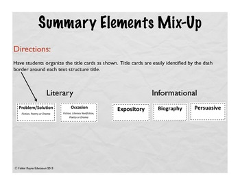 Summary Elements of Text Structure Mix-Up Game