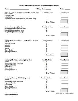 Summary Fiction Book Report, grades 4-6