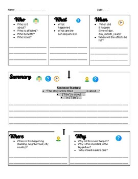 Summary Graphic Organizer for ELLs (English and Spanish)