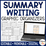 Summary Graphic Organizers | Editable | Google Classroom Version Included
