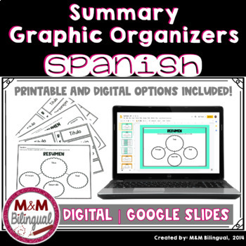 summary graphic organizers in spanish resumen by mm bilingual tpt