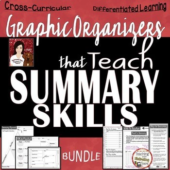 Summary Graphic Organizers with Steps for Summarizing Checklist, Middle & High