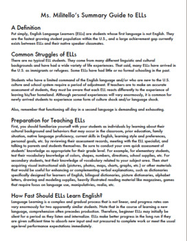 Summary Guide to English Language Learners