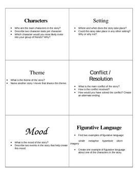 Summary / Literary Elements Discussion Cards