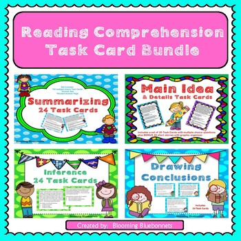 Summary, Main Idea, Inference, Drawing Conclusions Task Cards Bundle