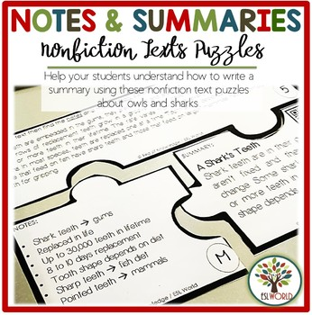 Summary, Notes & Nonfiction Text Puzzles