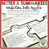 Summary Writing Practice Nonfiction Activities - Matching Notes Puzzles