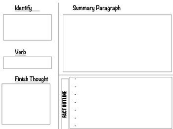 Summary Paragraph Graphic Organizer