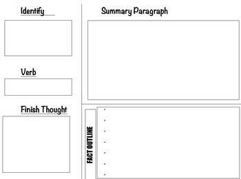 Summary Paragraph Graphic Organizer