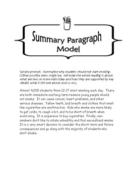 FREE Writing a Summary Paragraph All Subjects 6-9