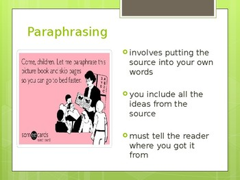 Summary, Paraphrase, Quotation Introduction PPT