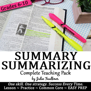 Summarizing Lesson, SWBST Complete Teaching Pack, Traditional and Digital