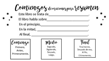 Summary Sentence Stems (English and Spanish)