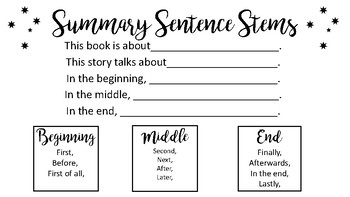 Summary Sentence Stems (English and Spanish)